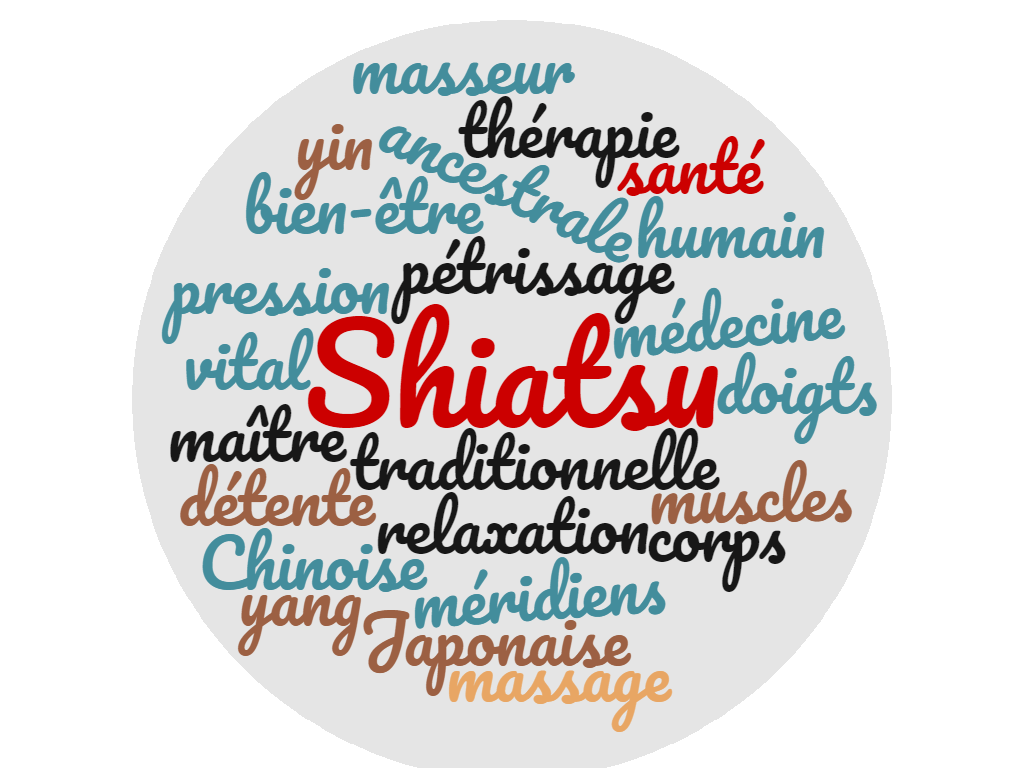 nuage de mots sur le shiatsu